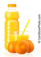 Bottle of juice - Mandarin juice in plastic bottle and...