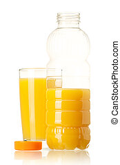 Bottle of juice - Orange juice in plastic bottle and glass...