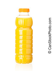 Bottle of juice - Orange juice in plastic bottle on white...