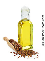 Bottle of Linseed oil on white background
