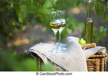 Bottle of liquor or grappa and glasses with bunch of grapes ...
