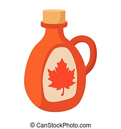 Bottle of maple syrup icon, cartoon style