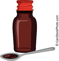 Bottle of medicine syrup and a spoon