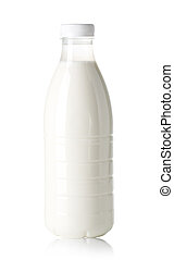 Bottle of milk isolated over white background