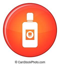 Bottle of mouthwash icon, flat style