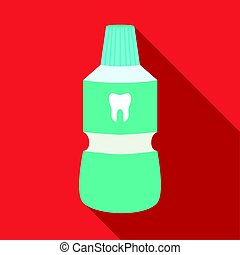Bottle of mouthwash icon in flat style isolated on white background. Dental care symbol stock vector illustration.