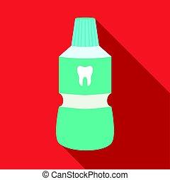 Bottle of mouthwash icon in flat style isolated on white background. Dental care symbol stock vector illustration.