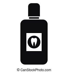 Bottle of mouthwash icon, simple style