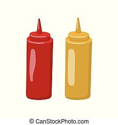 Bottle of mustard and ketchup cartoon vector Illustration