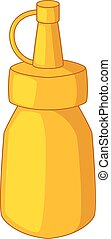 Bottle of mustard icon, cartoon style