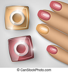 Bottle of nail polish and nails. Vector illustration.