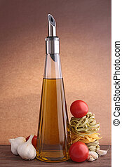 bottle of oil olive and ingredient