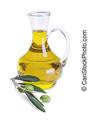olive oil - Bottle of olive oil and fresh olive branch with ...