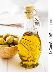 Bottle of olive oil.