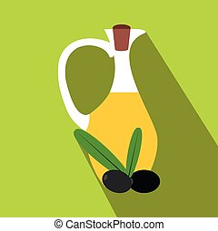 Bottle of olive oil icon, flat style