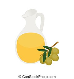 Bottle of olive oil icon in isometric 3d style