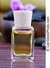 bottle of olive oil naturally aromatic spa