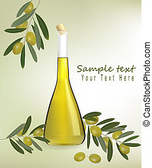 Bottle of olive oil with olives and spices. Vector.