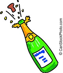 bottle of opened champagne isolated on white drawn in toddler art style