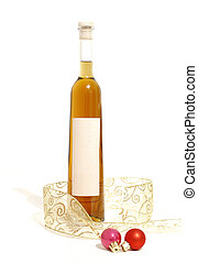 grappa - Bottle of orange grappa with ribbon and christmas ...