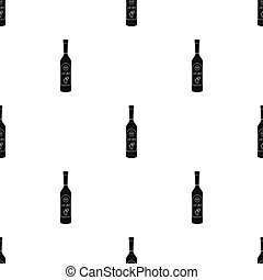 Bottle of ouzo icon in black style isolated on white background. Greece pattern stock vector illustration.