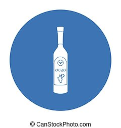 Bottle of ouzo icon in black style isolated on white background. Greece symbol stock vector illustration.