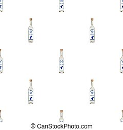 Bottle of ouzo icon in cartoon style isolated on white background. Greece symbol stock vector illustration.