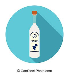 Bottle of ouzo icon in flat style isolated on white background. Greece symbol stock vector illustration.