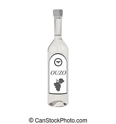 Bottle of ouzo icon in monochrome style isolated on white background. Greece symbol stock vector illustration.