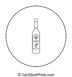 Bottle of ouzo icon in outline style isolated on white background. Greece symbol stock vector illustration.