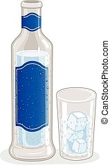 Bottle of ouzo or raki and glass with ice cubes