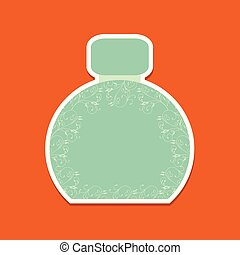 Bottle of perfume icon with floral background