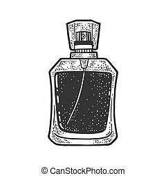 bottle of perfume sketch engraving vector illustration. T-shirt apparel print design. Scratch board imitation. Black and white hand drawn image.