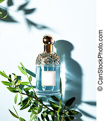 Bottle of perfume with green leaves on a light blue background