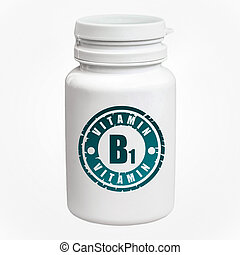 Bottle of pills with vitamin B1 on white background