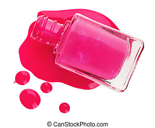 Bottle of pink nail polish with enamel drop samples, isolated on white