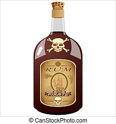 bottle of pirate rum - glass bottle pirate rum on white...