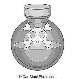 Bottle of poison icon, black monochrome style