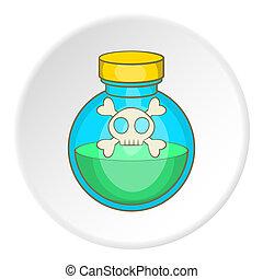 Bottle of poison icon, cartoon style