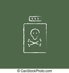 Bottle of poison icon drawn in chalk.