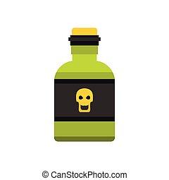 Bottle of poison icon, flat style