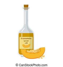 Bottle of pumpkin seed oil in cartoon style.