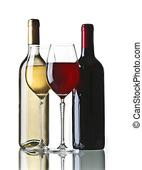 Bottle of red and white wine with two glasses on white background