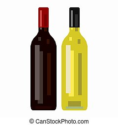 Bottle of red wine and a bottle of white wine