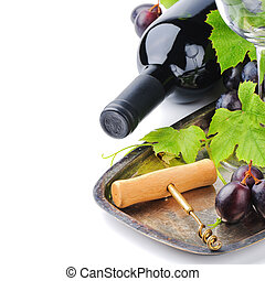 Bottle of red wine and and fresh grape - Bottle of red wine ...