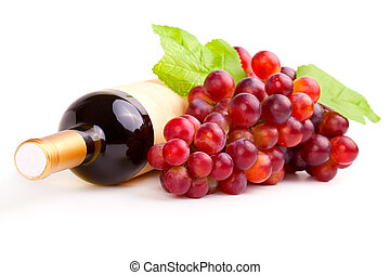 bottle of red wine and grapes, isolated on white background.