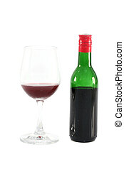 Bottle of red wine and grass isolated in white background