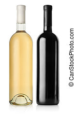 Bottle of red wine and white wine isolated on a white ...