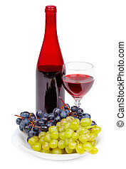 Bottle of red wine, glass and grapes on white background