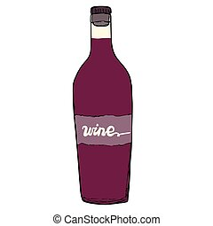 Bottle of red wine. Home made wine with a hand made inscription. Vector object.